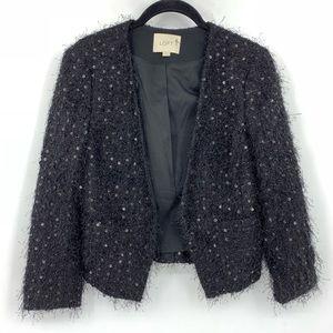 Loft Black Sequin Boucle Jacket